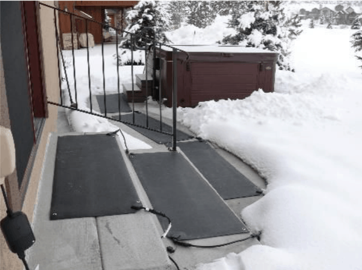 Heated pathway to the Hot Tub